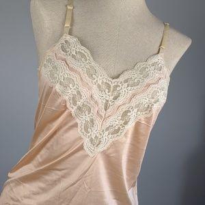Vintage silky cami  Lace top
